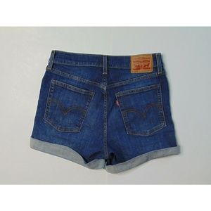 Levi's 28 Wedgie Jean Shorts High Waisted Blue
